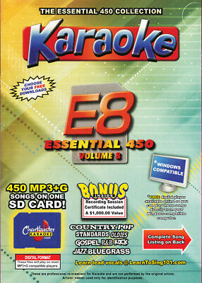Karaoke Chartbuster Essential 450 Songs SD-Card Vol-8,Country,Standars,R&B,Rock