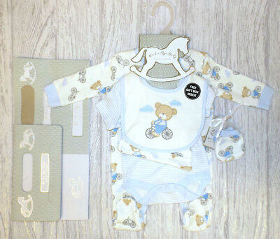 "BABY BOYS FIVE PIECE LAYETTE SET - ""BEAR & BIKE"" - NB, 0-3m, 3-6m"