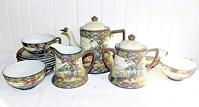 Antique Japanese CGN Nippon Hand Painted Tea Coffee Pot Set Cups & Saucers 13 Pc