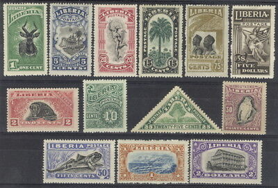 Liberia 1918 pictorial set of 13, mint $$ #163-75 bird, animals, fish, triangle