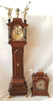 Warmink Clock Miniature Baby Longcase Nut Wood Moonphase Double Bells 75cm Rare