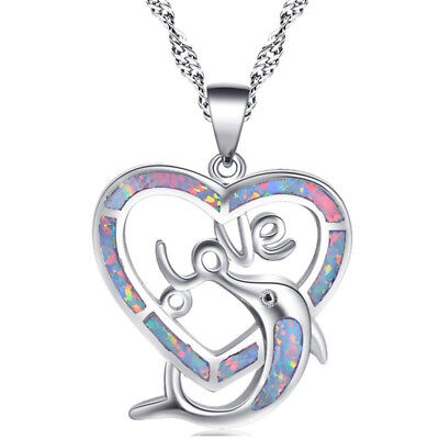 Women's White Fire Opal Gems Silver Filled Heart Love &dolphin Pendent Necklace