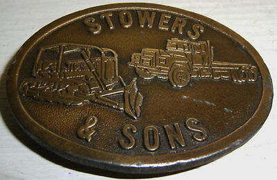 BELT BUCKLE Stowers Vintage Brass Plated Tractor Truck