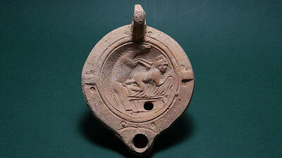 Ancient Erotic Oil Lamp Of Cleopatra Ex. Rare Roman 100 Bc-100 Ad