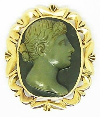 Wonderful Gold Roman Goddess Ceres Hardstone Agate Cameo Brooch