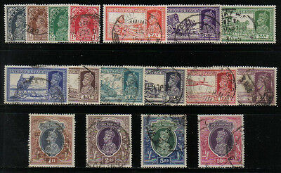 India 1937-40 Kgvi Definitives Complete To 10R Value Scott #150-165 Used
