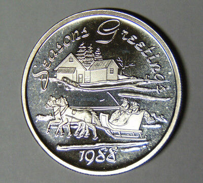 1988 Seasons Greetings Horse and Sleigh .999 Fine Silver 1 oz Round (112518)