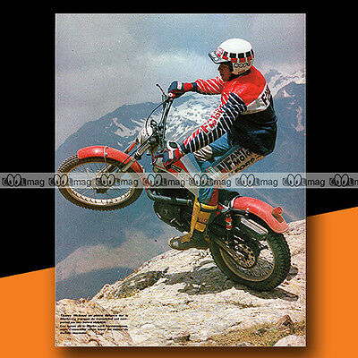 ★ THIERRY MICHAUD sur MERLIN (1984) ★ Mini-Poster Pilote Moto TRIAL Photo #MP243