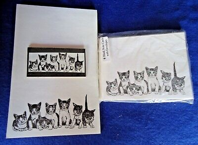 Kitty Litter Kittens 3 Piece Set-Notepad, 6 Blank Notecards and Magnet -New