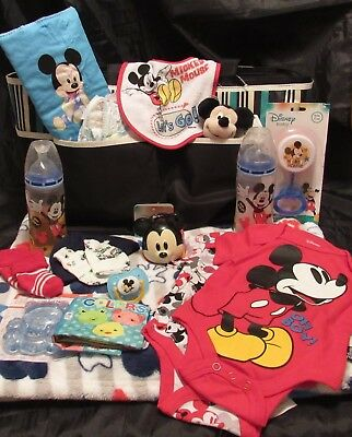 Reborn baby doll diaper bag Mickey Mouse complete accessory bottle pacifier