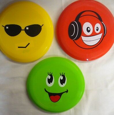 "Funny Face Emoji Flying Disc 8"" (20.5 cm) Frisbee. Great for the Dog or Garden"
