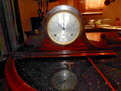 Antique Sessions Westminster Chime Tambour Mantle Clock. For Restoration /REPAIR
