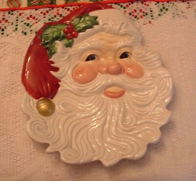 Fitz &Floyd Essentials Christmas Holiday Santa Cookie Plate or Wall Hanging