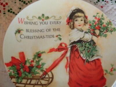 """Vintage Style Ceramic Christmas Plate Victorian Girl & Sled """"Wishing You Blessin"""