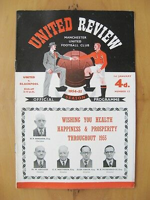 MANCHESTER UNITED v BLACKPOOL 1954/1955 *Excellent Condition Football Programme*
