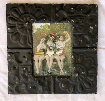 1890's Antique ceiling tin picture frame 5 x 7  Black metal reclaim 563-18