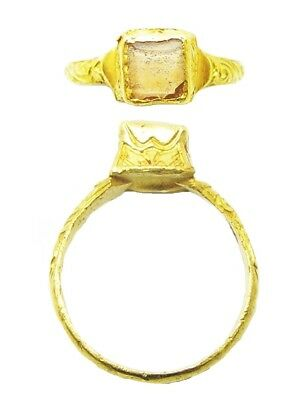 Wonderful 16th century Elizabethan Tudor Period Gold & Rock Crystal Finger Ring