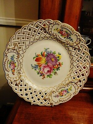 Vintage German Meissen Style  Dresden Reticulated Plate 9 Inches