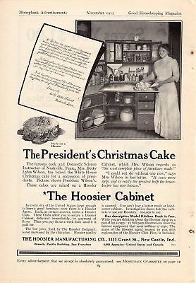 1913 Hoosier Kitchen Cabinet Ad-The President's Xmas Cake