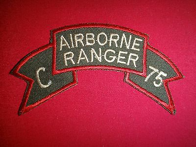US Army C Company AIRBORNE 75th Infantry Rgt RANGER - Vietnam War Scroll Patch
