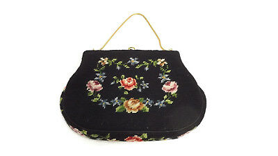 Vintage Needlepoint Floral Tapestry Handbag Purse w/ Comb & Mirror Chain Strap