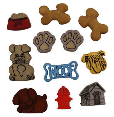 Novelty Buttons By Buttons Galore 'DOG GONE IT'  Dogs, Paw Prints Bone Woof