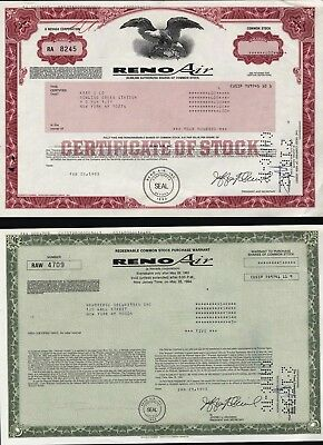 2 Reno Air : One Warrant (January, 1993) + One Certificate (February, 1993)