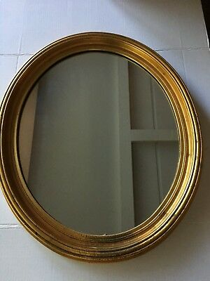 """Antique Oval Mirror 18"""" X 22"""" Beautiful Gold Layered Design Frame"""