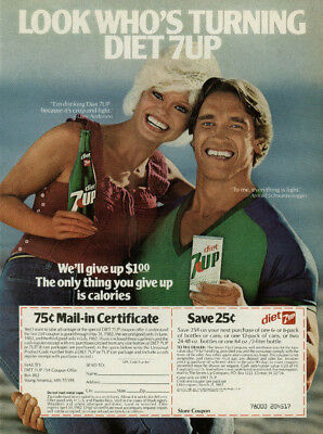 Loni Anderson & Arnold Schwarzenegger for Diet 7-UP ad 1982