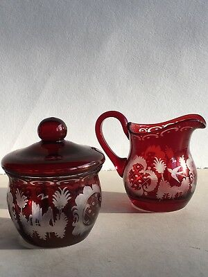 Set of Antique Vintage 1920s Egermann Ruby Glass Sugar & Creamer MINT Condition