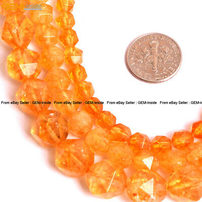 """Faceted Yellow Citrine Quartz Loose Beads Cambay For Jewery Making 15"""" Dyed GI"""