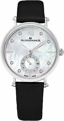Alexander Monarch Roxana Stainless Steel White Mother of Pearl Large Face Watch