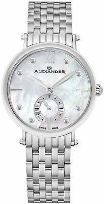 Alexander Monarch Roxana White Mother of Pearl Large Face Watch For Women - Swis