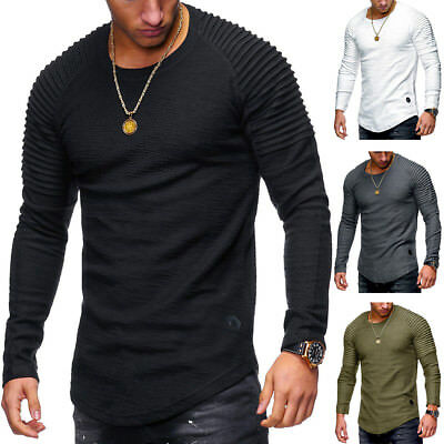 Men's Slim Fit Fashion O-Neck Tops Casual Long Sleeve Muscle Tee T-shirt  Blouse
