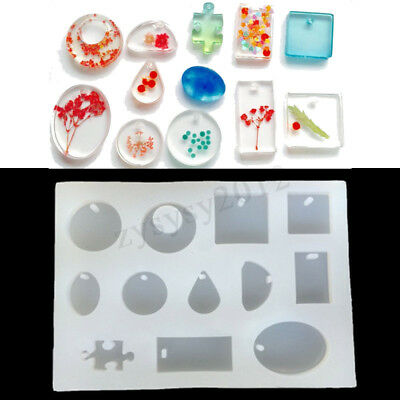 12x Silicone Mould Mold for DIY Resin Round Necklace Jewelry Pendant Making Tool
