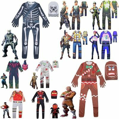 AU Kids Adults Fortnite Costume Cosplay Halloween Jumpsuit Playsuit Party Fancy