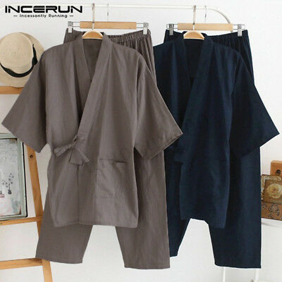 Mens Casual Kimono Long Sleeve Bathrobe Pajamas Robe V Neck Loungewear Nightwear