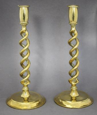 Beautiful Pair Of Vintage Solid Brass Double Barley Twist Candlesticks 1920