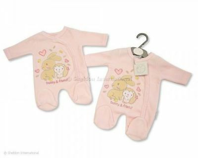 "BABY GIRL SLEEPSUIT - ""BUNNY & FRIEND"" - 5-8lb,Tiny Baby, Newborn"