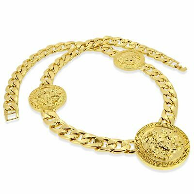 Solid Gold plated Medusa Link Chain Necklace heavy big large ice medallion boys