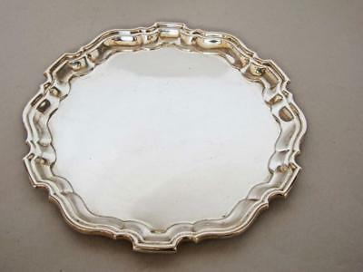 EXCELLENT STERLING SILVER SALVER TRAY with CHIPPENDALE RIM VINERS 1955 292 grams