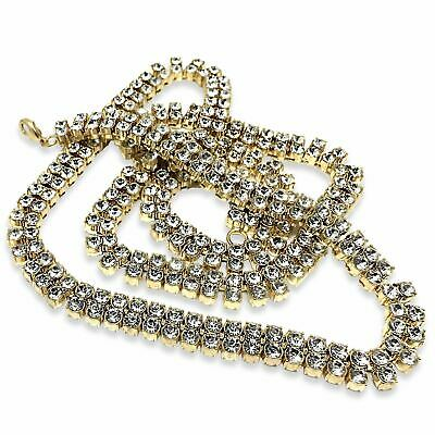 2 Row 9ct Gold plated Pharaoh Chain Necklace diamond iced out chain solid bling