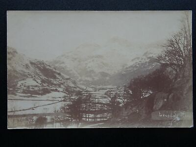 Cumbria The Lake District a Wintery Scene LANGDALE PIKES - Old RP Postcard
