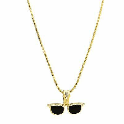 Gold Plated 9ct sunglasses Pendant hip hop bling iced out lab diamond boys men s