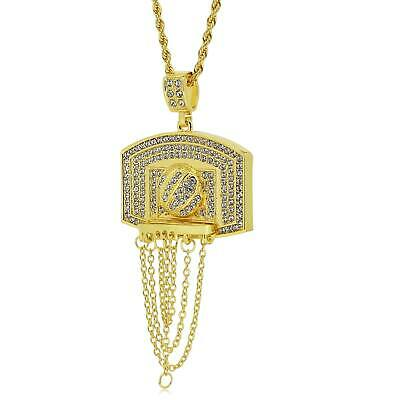 9ct Gold Plated Basketball Pendant necklace Rope Chain hip hop iced out bling ch