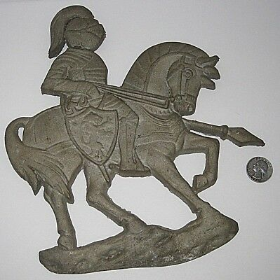 RARE EAMES ERA CAST METAL WALL ART Soldier Mounted Medieval Knight FOUNDRY HORSE