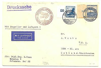 Germany 1936-5-1  Cover  By =Zeppelin Hindenburg= To Usa  F/vf