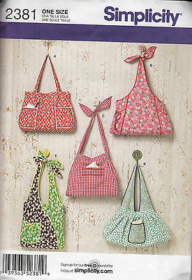Simplicity Crafts Sewing Pattern #2381 Purse, Bag 5 Styles