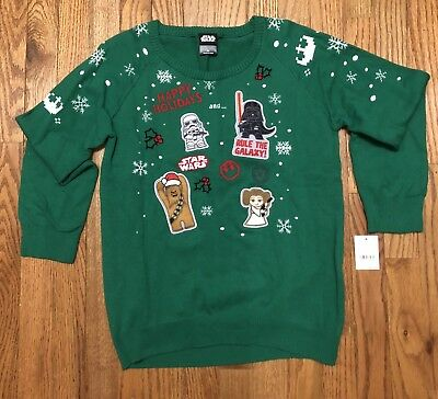 Ugly Christmas Sweater Star Wars Green Darth Leia Makes Noises Youth XL NWT