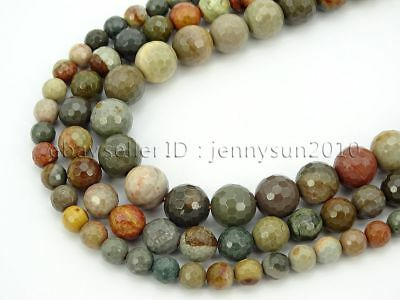 Natural Polychrome Jasper Gemstone Faceted Round Spacer Beads 15'' 6mm 8mm 10mm